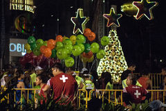Christmas Street Scene Standard Chartered Marathon Stock Photo