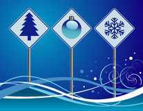 Christmas Street Signs Royalty Free Stock Photography