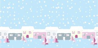Christmas street snowing scene on blue background. vector illustration