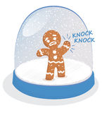 Christmas stress. Vector illustration of gingerebread man trapped in a snow globe Stock Photo