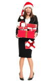 Christmas stress woman shopping gifts. Stress christmas shopping business woman holding many gifts busy for holidays. Full length isolated on white young asian stock photography