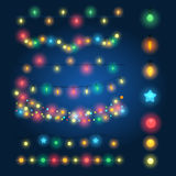 Christmas string lights. Vector illustration. Fairy xmas hanging lighting background Stock Photo