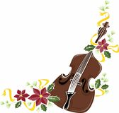 Christmas Strings. A holiday-themed embellishment of a string instrument and poinsettias vector illustration