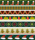 Christmas Strip Pattern Set Stock Photos