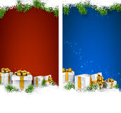 Christmas stripe banners with gift boxes. Royalty Free Stock Images