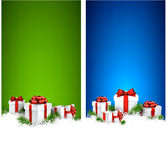 Christmas stripe banners with gift boxes Royalty Free Stock Images