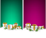 Christmas stripe banners with gift boxes Royalty Free Stock Photos