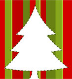 Christmas striped card. Christmas tree over striped background. vector illustration Stock Photo