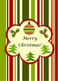 Christmas striped  greeting card Stock Images