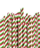 Christmas striped paper straws Royalty Free Stock Photo