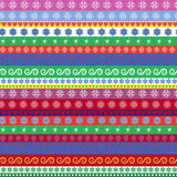Christmas striped seamless pattern. Christmas and New Year striped seamless vector pattern with many multicolour horizontal strips Stock Images
