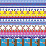 Christmas striped seamless pattern with reindeer Royalty Free Stock Photography