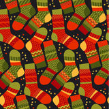 Christmas striped socks in patchwork style. Royalty Free Stock Photography