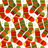 Christmas striped socks in patchwork style. Stock Images