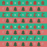 Christmas Stripes Background. With a monkey, a Christmas tree, gifts, candy and Christmas balls Royalty Free Stock Photography