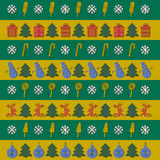 Christmas Stripes Background. With a monkey, a Christmas tree, gifts, candy, snowmen and Christmas balls Royalty Free Stock Photos