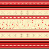 Christmas stripy pattern with stars and snowflakes Royalty Free Stock Image
