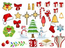 Christmas stuff. Christmas ornaments and accessories that can be used combined or separately Stock Illustration