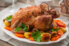 Christmas Stuffed Chicken Served with Potatoes, Carrots and Figs Stock Photo