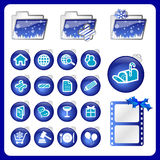 Christmas style icons. Christmas style icon 2 - blue series royalty free stock photo