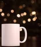 Christmas styled mockup mug, blank white coffee mug Royalty Free Stock Photo