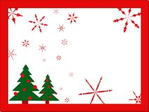 Christmas stylization card in red frame with snowflakes and Christmas trees on white background, flat design, vector Stock Images