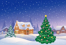 Christmas suburb royalty free illustration