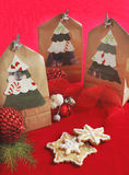 Christmas sugar cookies on a gift paper bags Stock Image