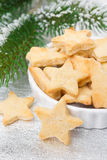 Christmas sugar cookies in the shape of a star, selective focus Stock Image