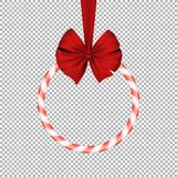 Christmas sugar sweet red lollipop with red realistic ribbon on a transparent background. Round banner. Sweet gift. Happy New Year. Vector illustration Stock Images