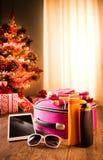 Christmas sun holidays with tablet Stock Photos