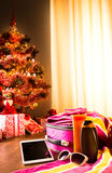 Christmas sun holidays with tablet Royalty Free Stock Photo