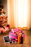 Christmas sun holidays with tablet Royalty Free Stock Image