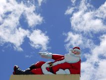 Christmas: sunny santa sign Stock Photo