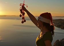 Christmas sunset stock photo