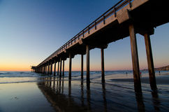 Christmas sunset at tall Pier  in La Jolla bay - 1 Royalty Free Stock Photography