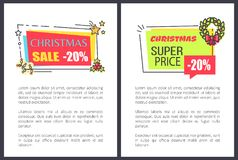 Christmas Super Price Sale 20 Off Advert Labels. Christmas super price sale 20 off advertisement labels on posters with place for text, promo stickers decorated Royalty Free Stock Photo
