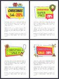 Christmas Super Price Poster Vector Illustration. Christmas super price -20 , set of posters with text sample and headlines with icons of bell and mistletoe Vector Illustration