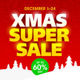 Christmas Super Sale banner Stock Image