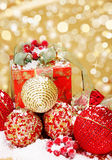 Christmas supplies on glittering background Stock Images