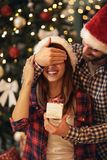 Christmas surprise. Couple i love with Christmas surprise Stock Photo