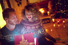 Christmas surprise in red box Royalty Free Stock Photos