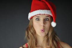 Christmas surprised girl Stock Photography