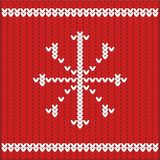 Christmas Sweater Design. Knitted texture of red with white pattern Stock Photos