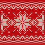 Christmas Sweater Design. Seamless Knitted Pattern with Snowflak Royalty Free Stock Images