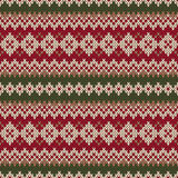 Christmas Sweater Design. Seamless Knitted Pattern in traditiona Stock Photography