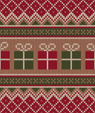 Christmas Sweater Design. Seamless Knitting Pattern. Winter Holi Royalty Free Stock Photo
