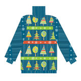 Christmas sweater knitted pattern with trees and snow Royalty Free Stock Images