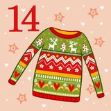 Christmas sweater with ornament. Vector christmas advent calendar in childrens style. Christmas sweater with ornament. Illustration with a pullover Royalty Free Stock Photo