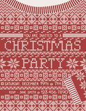 Christmas Sweater Party Invitation Template. Christmas Party invitation in the shape of a knitted Christmas sweater Stock Image